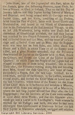 Newspaper extract re deposition of sailor