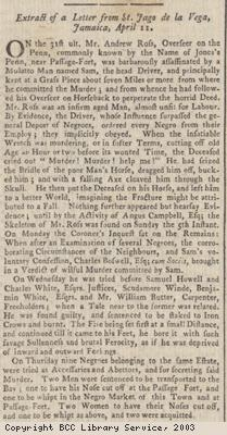 Newspaper extract re execution of Sam the Mullato