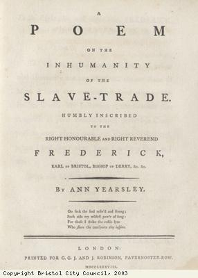 Frontispiece to poem against slavery