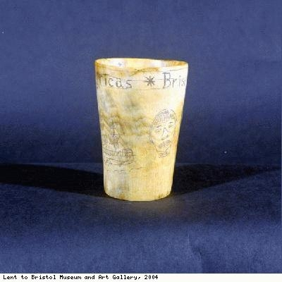 Horn cup inscribed Liverpool, Bristol, Africas