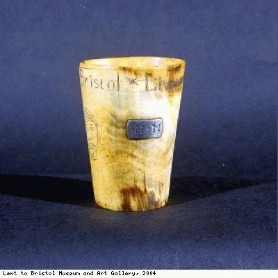 Horn cup, inscribed, Liverpool, Bristol, Africas