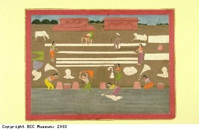Indian painting, women washing