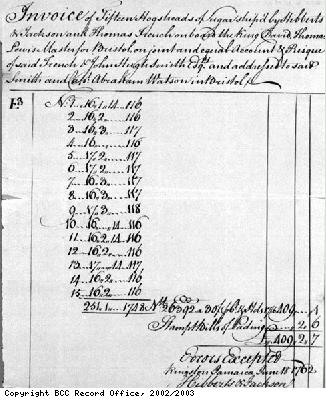 Invoice for sugar shipped from Jamaica