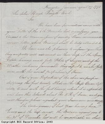 Letter; sale and valuation of plantation