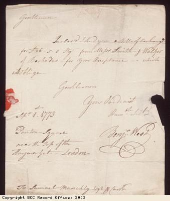 Letter, B West to S Munckley