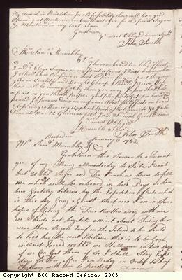 Letter, John Smith to S Munckley