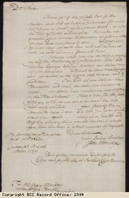 Letter about running plantation