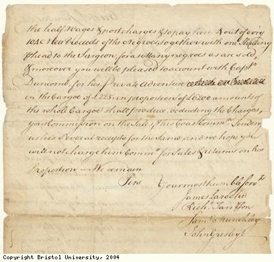 Letter regarding cargo of slaves