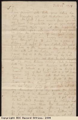 Letter regarding selling slaves