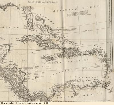 Map detail, Caribbean islands