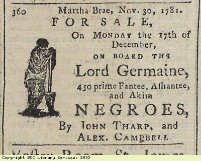 Newspaper extract, 450 slaves for sale