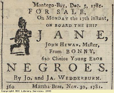 Newspaper extract, 620 slaves for sale