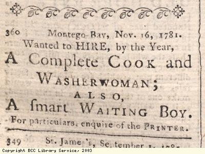 Newspaper extract, cook and waiting boy wanted