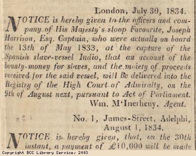 Newspaper extract, notice