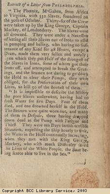 Newspaper extract re wreck of slave ship