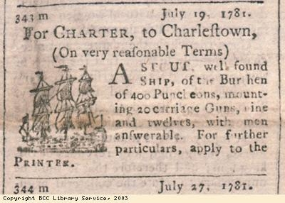 Newspaper extract, ship for charter