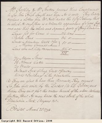 Note from agent to Sir John Hugh Smyth