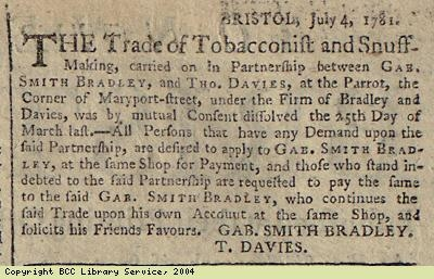 Notice: tobacco and snuff business