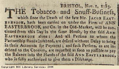 Notice about tobacco and snuff business