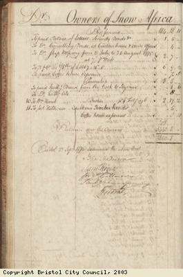 Page 28 from log book of ship Africa