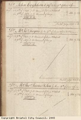 Page 58 from log book of ship Africa