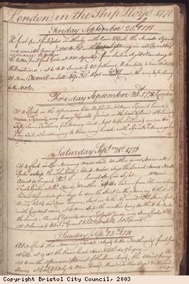 Page of log book of ship Lloyd