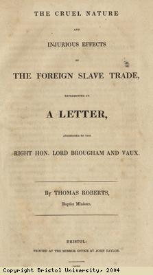 Pamphlet; cruel nature of slave trade