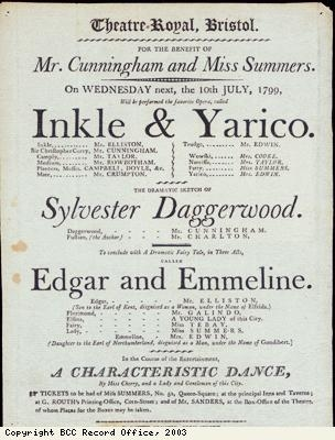 Inkle and Yarico playbill