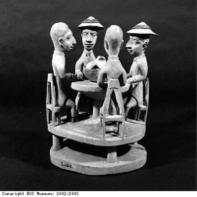 Pottery model of European missionaries