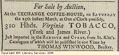 Sale by auction of tobacco