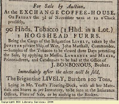 Sale by auction of tobacco and furs