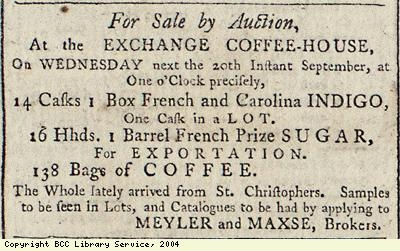 Sale of sugar, indigo and coffee