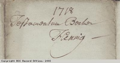 Signature on will of Becher Fleming