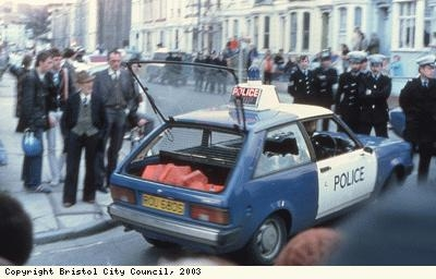 St Pauls Riots, smashed car window