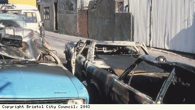 St Pauls Riots, burnt-out cars