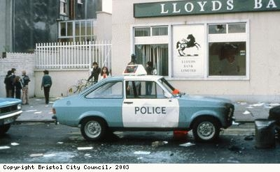 St Pauls Riots, damaged car