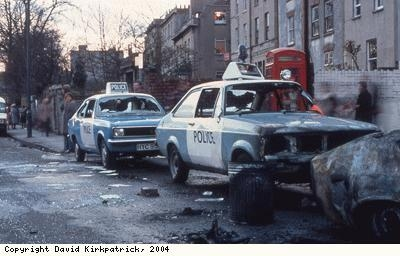 St Pauls Riots, damaged police cars