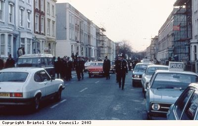St Pauls Riots, police and cars on road