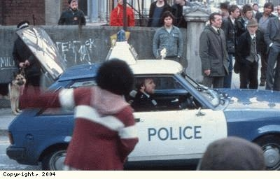 St Pauls Riots, police car driving
