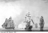 The Caesar, privateer, protects Jamaican convoy.