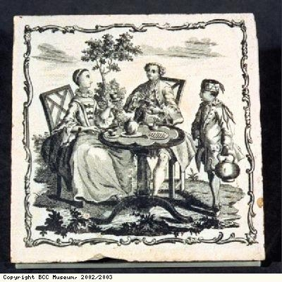 Tile, showing tea party